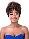 capless droite naturelle pelucheux fort brun rafraichissante courte perruque synthetique femmes