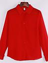 אחיד צווארון חולצה פשוטה יום יומי\קז\'ואל חולצה נשים,אביב / קיץ / סתיו שרוול ארוך כחול / אדום / לבן / שחור דק פוליאסטר