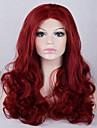 mode ombre kroppen våg syntetisk spets front peruk limfria långa röda färg peruker