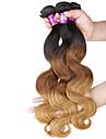 """3 st / lot 16 """"-24"""" 7a 3tbrazilian jungfru vågigt hårförlängningar 100% obearbetade jungfru mänskliga ombre hår väver"""