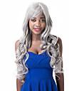 vogue europeen a long synthetique blanc partie laterale perruque grise partie boucles pour les femmes