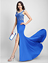2017 TS Couture® Formal Evening Dress Trumpet / Mermaid Scoop Sweep / Brush Train Tulle / Jersey with Appliques