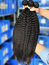 3pcs / lot 10 \'\' - 26\'\'brazilian jungfru hår naturligt svart kinky rakt rå människohår väva