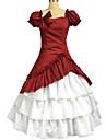 Une Piece/Robes Lolita Classique/Traditionnelle Lolita Cosplay Vetements de Lolita Rouge Couleur Pleine Manches courtes LongJupe / Robe /