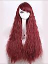 snygg fluffig snyggt bang red tecken långt vågigt syntetisk peruk för kvinnor