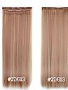 pince synthetique dans les extensions de cheveux 24inch 5 clips # 27/613 fibre de resistance a la chaleur clip cheveux raides en haute