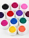 nya 12 flask mix färg 3d spik gel uv naglar GELLACK bas nail art polish uppsättning gel uv nail art dekorationer kit