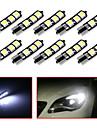10pcs t10 6smd 5050 voiture canbus conduit ampoule pour la voiture feu arriere parking cote carte porte du dome de lumiere (DC12V)