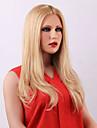 fabuleuse attrayante longue ligne droite blond avant de dentelle de cheveux humains