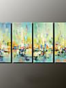 Peint a la main Paysages Abstraits Modern,Quatre Panneaux Toile Peinture a l\'huile Hang-peint