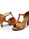 Chaussures de danse(Noir / Marron / Argent / Or / Autre) -Personnalisables-Talon Personnalise-Satin / Paillette-Latine