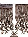 Clip synthetique postiches 24inch 60cm boucles des extensions de cheveux ondules # 12/613 couleur melangee resistant a la chaleur