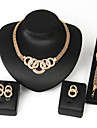 Gold Chain Bracelet & Ring &Necklace & Earrings Jewelry Set