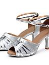 Chaussures de danse(Argent) -Personnalisables-Talon Cubain-Similicuir / Paillette-Latine / Baskets de Danse