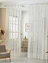 Deux Panneaux Rustique Floral / Botanique Blanc Salle a manger Melange Poly/Coton Sheer Rideaux Shades