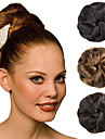 mariage updo mariee clips chignon bun tresses synthetiques extensions de cheveux raides marron