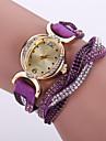 boheme bracelet en cuir de cristal de style blanc cas analogique montre bracelet de mode bracelet de quartz des femmes