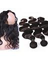 Hår Inslag med Stängning Brasilianskt hår Kroppsvågor 12 månader 4 delar hår väver