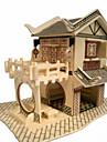 Pussel 3D-pussel Träpussel Byggblock GDS-leksaker Hus Trä Guld Modell- och byggleksak