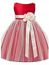 O linie de ceai lungime floare fata rochie - satin satin fără buzunar gât bijuterie cu floare