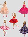 Fete / Soiree Robes Pour Poupee Barbie Rouge / Violet / Blanc / Orange / Rouge vin Lace Robes Pour Fille de Doll Toy