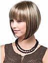 blonda brunmelerad peruk silkeslen raka korta fmyckett bob stil syntetiska peruker för kvinnor fri frakt