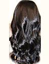 """non traite 10 """"-24"""" peruvien cheveux noirs ondules vierge naturelle 130% de la pleine densite de perruque vague naturelle"""
