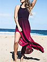 Women\'s Party/Cocktail Sexy Swing Dress,Color Block Halter Maxi Sleeveless Purple Polyester Spring