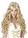 capless mode longue vague couleur blonde avec tresse cosplay perruque synthetique pour dames europen et americaines