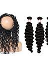 Trame cheveux avec fermeture Cheveux Malaisiens Ondulation profonde 12 mois 4 Pieces tissages de cheveux