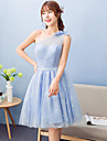 Knee-length Lace / Satin / Tulle Bridesmaid Dress A-line One Shoulder with Bow(s)