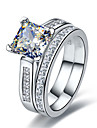 Verighete Plastic Ștras imitație de diamant La modă Argintiu Bijuterii Nuntă 1set