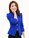 Mulheres Blazer Casual / Trabalho Simples / Sofisticado Primavera / Outono,Solido Azul / Rosa / Preto / Amarelo Poliester Lapela Pontuda