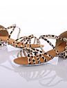 Chaussures de danse(Leopard) -Personnalisables-Talon Bottier-Similicuir-Latine / Baskets de Danse