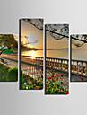 Landskap Canvastryck Fyra paneler Redo att hänga , Vertikal