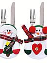 6pcs noel decoration sac diner de poche porte belle cuisine de bonhomme de neige de la vaisselle de couverts de table fete decoration de