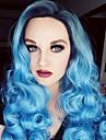 pastel argent bleu ombre perruque de longs boucles frange cote cheveux OMBRE couleur perruque de mode de haute qualite