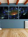 fantasi / Botanisk Canvastryck Tre paneler Redo att hänga , Vertikal