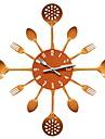 Nouveaute Moderne/Contemporain Horloge murale,Nourriture et Boisson / Famille Inox 16 inch