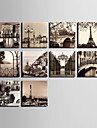 E-HOME® Stretched Canvas Art  European City Scenery Series Decoration Painting MINI SIZE One Pcs