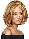 couleur de melange capless longueur moyenne de haute qualite vague naturelle perruque de cheveux synthetique avec Bang complet