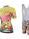 Miloto® Maillot et Cuissard a Bretelles de Cyclisme Femme Manches courtes VeloRespirable / Sechage rapide / Permeabilite a l\'humidite /