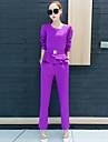 Dame Rotund Set Pantaloni Costume Ieșire Șic Stradă,Mată Manșon Lung Toamnă-Roșu / Negru / Violet Mediu Poliester