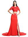 Linia -A Bijuterie Trenă Court Tricot Seară Formală Rochie cu Eșarfă/Panglică de TS Couture®