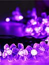 lampes solaires de Noel petales 23ft 50 led impermeable guirlande lumineuse solaire en plein air pour les jardins, mariage, arbre de noel