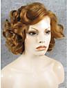 imstyle 10brown stor lockigt kort hår syntetisk spets främre peruk värmetålig