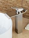 Contemporain Set de centre Cascade with  Valve en ceramique Mitigeur un trou for  Nickel brosse , Robinet lavabo