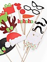 17pcs accessoires photo decorations de noel casquette de noel& levres rouges& moustache