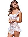 Feminin Babydoll & Slip Pijamale,Subțire Polyester / Spandex-Sexy Solid Alb / Negru