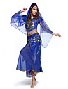 Belly Dance Outfits Women\'s Performance Chiffon Sequins 4 Pieces Top&Skirt&Waist belt&Head veil